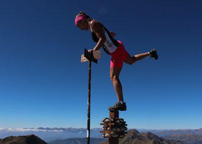 Auf dem Gipfel des Comapedrosa, dem höchsten Berg von Andorra, September 2014