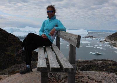 Blick auf den Eisfjord von Ilulissat, Grönland, Juli 2014
